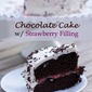 Dark Chocolate Cake with Strawberry Filling