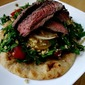 Freekeh Tabbouleh with Lime Marinated Sirloin over Flatbread