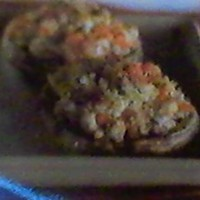 Ground Lamb Stuffed Portabella's with Feta Cheese Crumbles