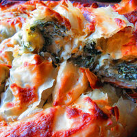 Filo pie with nettles and yoghurt