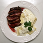 Seared Duck with Date Jus and Cheese Ravioli with Piave Sauce