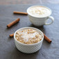 Cinnamon Roll Overnight Oatmeal with Cinnamon Cream Coffee