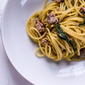 Spaghetti with sausage, sage, and butter sauce and some exciting news.