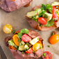 Baked Sweet Potato with Tomato-Avocado Salsa