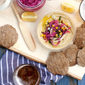 Beer-Rye Crackers and Pickled Red Onion Hummus Plate