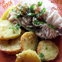 Baked perch with herb stuffing