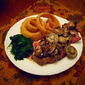 New York Strip Steaks with Mushroom Sauce and Cornmeal-Crusted Onion Rings