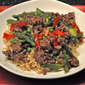 Stir-Fried Beef & Asparagus; blondes and pinks
