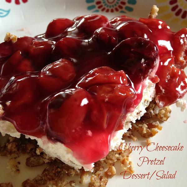 cherry cheesecake pretzel dessert/salad recipe