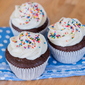 Simple Chocolate Cupcakes with Vanilla Frosting