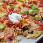 Chicken and Hummus Loaded Nachos in a Sheet Pan