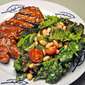 Grilled Pork Chops, Spinach and White Bean Salad, a sand dune