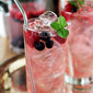 Vodka Spritzer with Raspberries and Blueberries