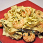 Fettuccini with Shrimp and Avocado Sauce; work