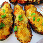 Eggplant boats with tuna and capers