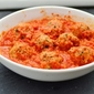 Meatballs,basil,red pepper sauce