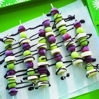 Frozen Grape and Banana Skewers with Chocolate Drizzle