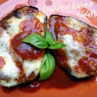 Stuffed baked eggplant with sausage and mozzarella