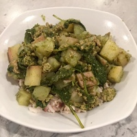 Indian Potato, Kale and Ground Turkey Over Rice