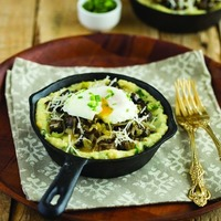 Spinach Polenta with Mushrooms, Leek, and Poached Egg