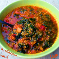 Quinoa, chickpea and spinach soup