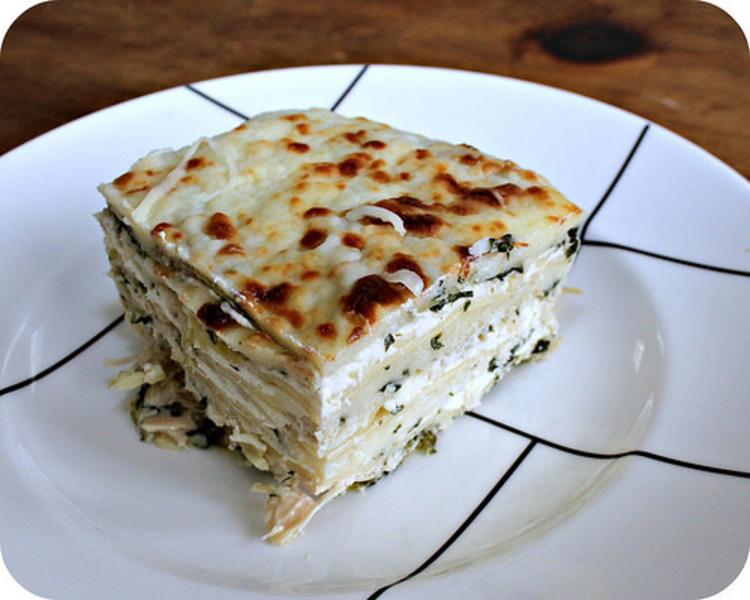Artichoke spinach and chicken lasagna recipe by katie for Spinach chicken lasagna recipe