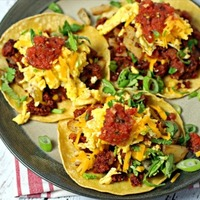 Chorizo Breakfast Tacos with Potato Hash and Eggs