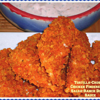 Football Party Finger Food #SundaySupper...Featuring Tortilla-Crusted Chicken Fingers with Salsa-Ranch Dipping Sauce #footballfood #homegating