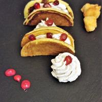 pancakes con spuma di pollo e melagrana gluten free