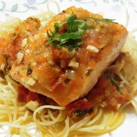 Grilled Salmon with Tomatoes and Cilantro Sauce