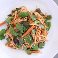 Udon Noodles with Snow Peas and West African Peanut Sauce