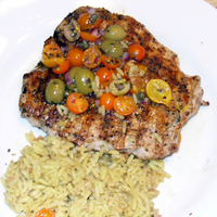 Colorful Mediterranean Grilled Pork with Mediterranean Salsa