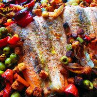 Spanish style salmon fillets