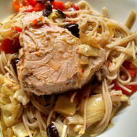 Capellini alla puttanesca with tuna
