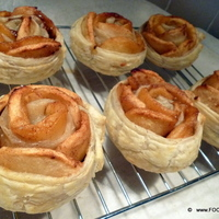 Apple Nut Caramel Puff Pastry Rose flowers