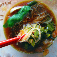 Bok choy soup with mushrooms and ginger