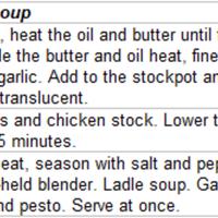 Bacon Tomato Soup with Sourdough Croutons and Arugula Pesto