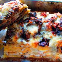 Mushroom and three cheeses lasagna