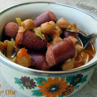 Chickpea, sausage and savoy cabbage stew