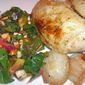 Roast Chicken with Lemon-Chard, Apple, and Almonds