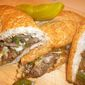 Cheese Steaks with Seared Pepper and Onions