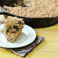 Coconut Chocolate Chip Oatmeal Skillet Cookie