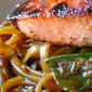 Asian Salmon Pasta with Snow Peas and Mushrooms