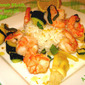 Shrimp with Summer Squash, Artichokes in Basil Oil over Rice