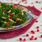 Kale Salad with Slivered Almonds and Pomegranate Vinaigrette