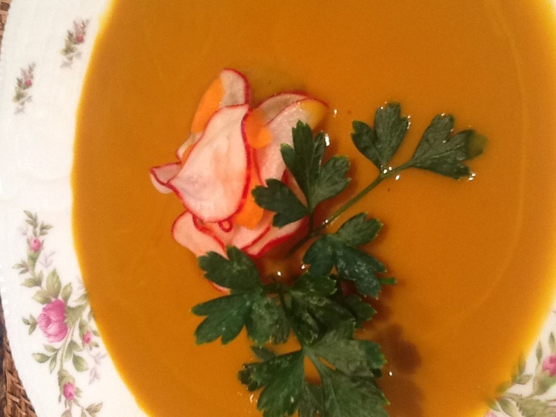 Thai Curry Carrot Soup with Pickled Vegetables