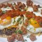 Huevos Rancheros with Chorizo and Refried Black Beans
