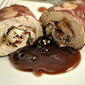 Turkey Rolls with Red Wine, Goat Cheese Sauce; taunting swallows