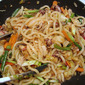 Stir fried spicy Udong Noodles with seafood