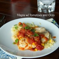 Tilapia with Tomatoes and Orzo